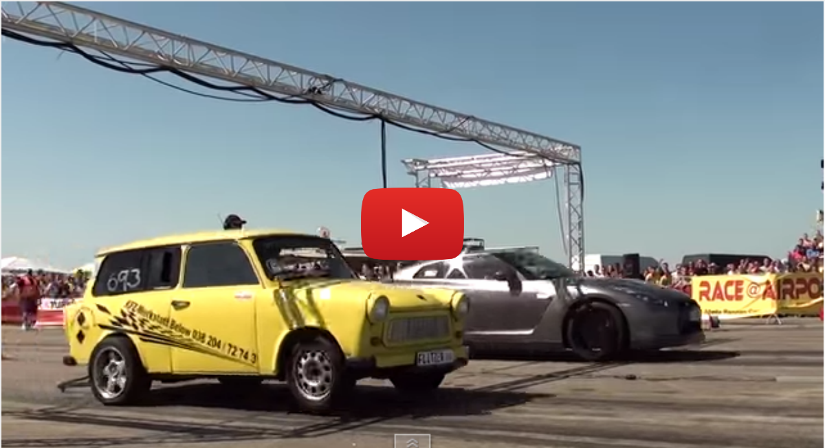 Nissan GTR R35 580HP vs. Trabant Turbo 3.0T - 1/4 Mile ...
