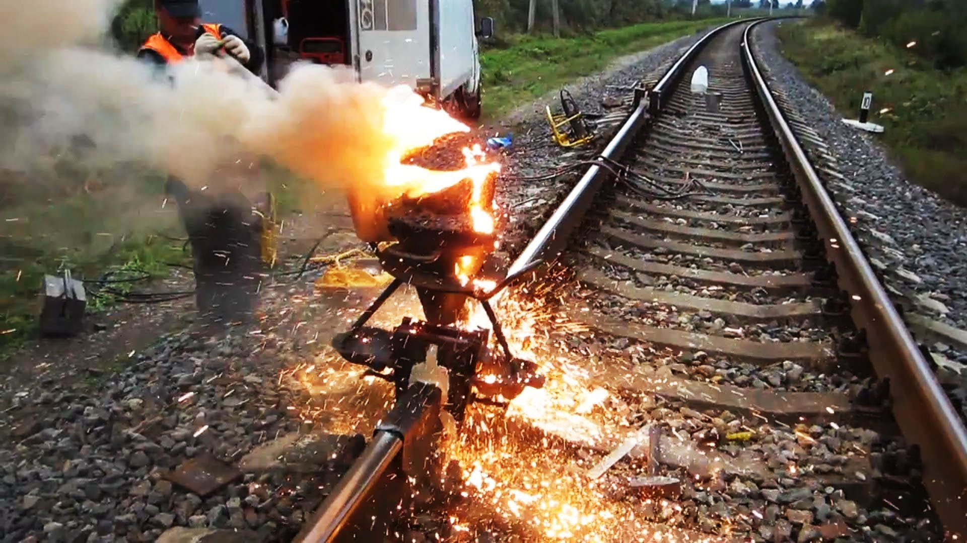 Railway thermite welding reaction railroad Siberia! | Vinemoments
